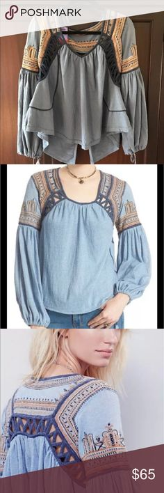"""Free people top NWOT snow kisses jersey knit Super cute boho free people blouse. The size tag has been ripped off, but this is a small. New without tags free people """"snow kisses"""" . Purchased at local boutique. Retails for $128 Free People Tops Tees - Long Sleeve"""