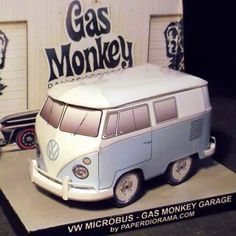 Vw Gas Monkey Garage Custom Paper Model - by Paper Diorama - == -  This is the paper model of a VW Shorty bus originally built in 1986. Found and resurrected by Richard Rawlings and master mechanic Aaron Kaufmann of Gas Monkey Garage for the TV show Fast N' Loud and then sold for $38,500 at a Barrett Jackson Auction. Scale model 1/35. - Paper Diorama