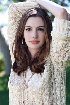 Anne Hathaway braless in a seethrough knit sweater, a modern classic beauty, star of Dark Knight Rises as Catwoman, The Princess Diaries, Havoc, The Devil Wears Prada, and Interstellar. #AnneHathaway #brunette #brunettes #seethrough #pokies