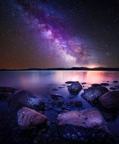 milkyway and some rocks by the sea