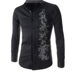 Eclectic Style Mens Shirt Black