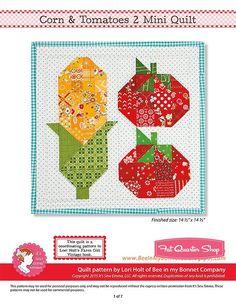 Corn & Tomatoes 2 Downloadable PDF Mini Quilt Pattern Bee in my Bonnet | Fat Quarter Shop