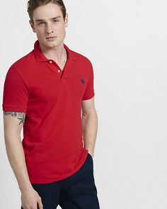 Fitted Small Lion Pique Polo | Express