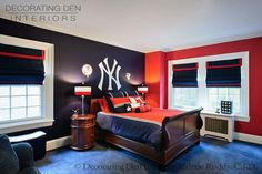 Boy room ideas blue and red red white and blue boys bedroom traditional bedroom african home decorations for cheap Bedroom Red, Bedroom Decor, Bedroom Ideas, Red Bedrooms, Teen Boy Bathroom, Bedroom Seating, Blue Rooms, My New Room, Home Interior