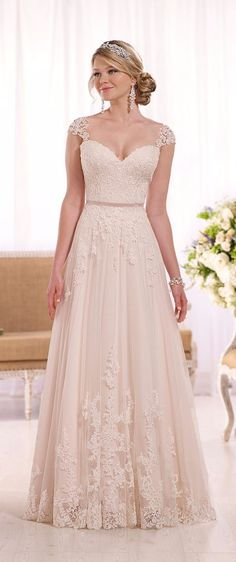 Wedding gown by Essense of Australia.Check out more gorgeous dresses in our Essense of Australia gown gallery ► Pink Wedding Dresses, Designer Wedding Dresses, Bridal Dresses, Wedding Gowns, Bridesmaid Dresses, Lace Wedding, Wedding Dressses, Prettiest Wedding Dress, Trendy Wedding