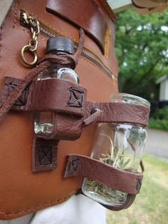 Leather Belt Pouch Bottle Holder.