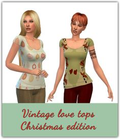 Vintage Love Tops Christmas Edition at Maimouth via Sims 4 Updates Sims 4 Clothing, Female Clothing, Sims 4 Game, Sims 4 Update, Vintage Love, Red Hair, Swatch, Clothes For Women, Ts4 Cc