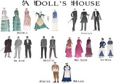"""This is a character list from the infamous drama, """"A Dolls House,"""" by Henrik Ibsen. This is a noteworthy play especially in feminist circles who claim Nora slowly adopts a feminist viewpoint which results in her leaving her family in the end of such a play. However that is speculation because Ibsen himself didn't intentionally write it as a feminist drama."""