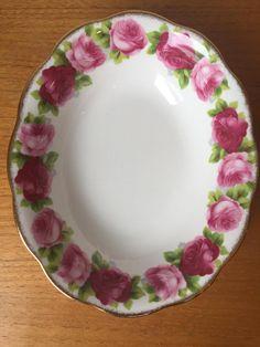 "Royal Albert ""Old English Rose"" Vintage Serving Bowl, Dark and Light Pink Roses, English Bone China, Fine Dining, Oval Vegetable Dish by CupandOwl on Etsy"