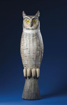 Carved and Painted Great Horned Owl Decoy Carving, Carving Wood, Wood Carvings, Owl Bird, Bird Art, Funny Owls, Wood Owls, Whimsical Owl, Great Horned Owl