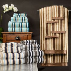 Superior Collection Luxurious Stripes 100-percent Cotton 6-piece Towel Set - Overstock™ Shopping - Top Rated SUPERIOR Bath Towels