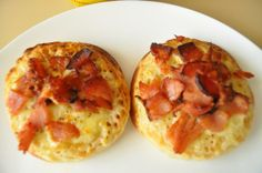 Crumpets With Cheese & Bacon:   Nice way to enjoy English crumpets.