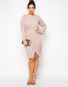 ASOS Curve   ASOS CURVE Ruched Wrap Dress in Jersey Crepe at ASOS