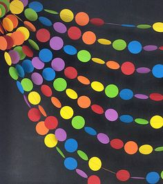 Rainbows Dots 30ft Garland: 1st Birthday Girl, 1st Birthday Boy, Art Birthday Party, Noah's Ark Party, Photo Backdrop, Rainbow Birthday by BeeBuzzPaperie on Etsy https://www.etsy.com/listing/188803784/rainbows-dots-30ft-garland-1st-birthday