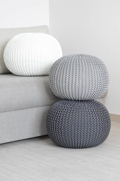 Crochet Pouf Pattern, Knitted Pouf, Knitted Ottoman, Crochet Patterns, Living Room Pouf, Living Room Mirrors, Nursery Room Decor, Home Decor Bedroom, Floor Pouf