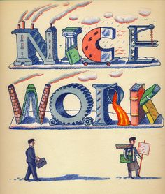 Front cover illustration for Nice Work by David Lodge / Penguin books:Ian Beck