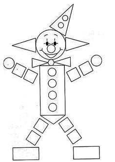 Kindergarten Math Worksheets, Preschool Learning, Preschool Activities, Decoration Cirque, Circus Crafts, Shapes Worksheets, Shape Crafts, Shape Art, Math For Kids