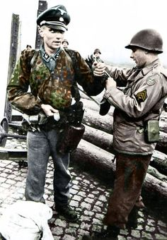 "herrwiegenstein: ""A Waffen-SS Untersturmführer is searched, his watch stolen by an American Sergeant shortly after his capture. "" This was a common action of American soldiers throught the war. German Soldiers Ww2, German Army, American Soldiers, Military Photos, Military Art, Military History, Ww2 Pictures, Ww2 Photos, Images Photos"
