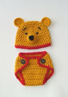 "Winnie the Pooh ""inspired"" Bear Hat &  Diaper Cover  (newborn OR 3-6 month size). $35.00, via Etsy."