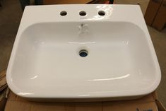 """Duravit Happy D.2 furniture washbasin model 231865 00 87, white in color with faucet deck, 25-5/8"""", appears to be in original box. Photographs taken where damage was noticed, other flaws/damage could exist. Happy D, Duravit, Faucet, Photographs, Sink, Flaws, Auction, The Originals, Cooking"""