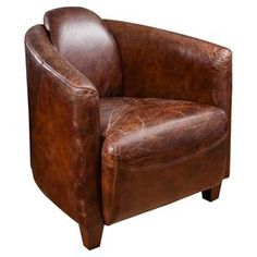 Brimming with traditional charm, this timeless armchair showcases high arms and leather upholstery. Placed with a floor lamp, it transforms a quiet corner into an intimate reading nook.    Product: ChairConstruction Material: Leather and woodColour: BrownFeatures: Distressed finishDimensions: 78 cm H x 83 cm W x 75 cm D
