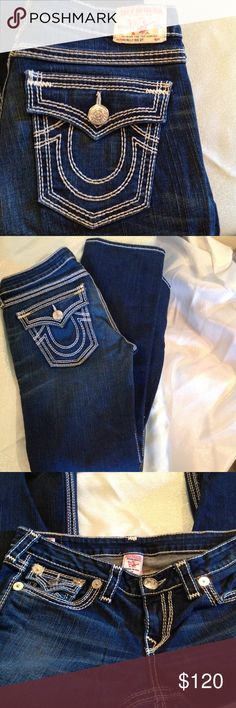 NWOT True Religion women's Billy Big QT jeans Blue w/ white stitch & silver hardware. Beautiful great fitting jeans! Straight leg, low rise. Perfect condition, never worn. True Religion Jeans Straight Leg
