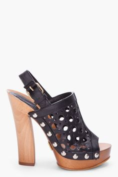 Marc Jacobs Black Leather Wooden Clogs
