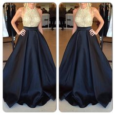 Designer Prom Dress,Halter Prom Dresses,Gold Beaded Evening Gowns,Navy Blue Satin Party Gowns,Sexy E on Luulla Gorgeous Prom Dresses, Prom Dresses 2016, Designer Prom Dresses, Backless Prom Dresses, Dress Prom, Dress Long, Party Dresses, Dress Skirt, Maxi Skirts