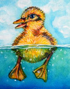 Duckling Swimming original painting -  9 Duck Pond by rachelledyer