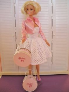 My crocheted Barbie dress and the hatboxes I made (made by sterlingwinterset)