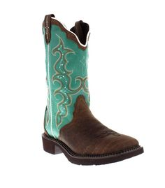 """Justin 12"""" Turquoise and Barnwood Brown Broad Square Toe Gypsy Cowgirl Boots - Brands"""