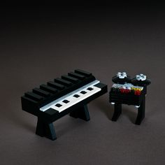 amazing Lego creations inspired by vintage synthesizers, drum machines and recording equipment.