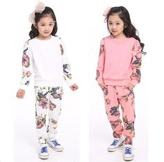 Cheap suit teddy, Buy Quality tracksuit patterns directly from China suit handkerchief Suppliers:  100-160cm Children's clothing set big child girls spring and autumn sweartershirt pants suit teenager floral outfi