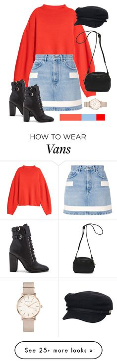 """#RED"" by megans-got-clothes on Polyvore featuring Givenchy, Schutz, Vans, ROSEFIELD, Rusty, red, hat, booties, crewneck and denimskirt"
