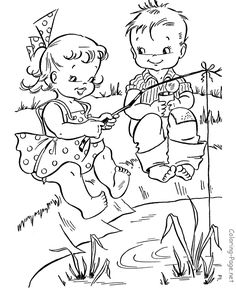 Summer coloring page - Fishing fun