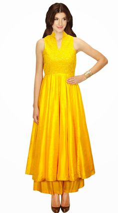 Fashionable Yellow Silk Designer Suit With Palazzo Pant