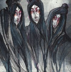 The three witches from Macbeth mixed media on canvas. what I remember using -pink highlighter -red marker -silver shiny marker -acrylic -watercolour -ink The Weird Sisters Weird Sisters, Sisters Art, Three Sisters, Macbeth Witches, Lady Macbeth, Works Of Shakespeare, William Shakespeare, Three Witches, Witch Tattoo