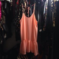 Cute peach dress Like new! No flaws that I am aware of. Says size S but will fit a M too Dresses