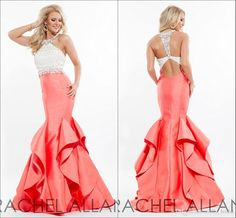 2016 Coral Mermaid Prom Dresses Ruffles Tiered High Neck Crystal Beading Sexy Open Back Dresses Evening Wear Formal Party Dress Gowns Gigi Prom Dresses Make Your Own Prom Dress Online From Molly_bridal, $99.18| Dhgate.Com