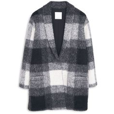 MANGO Check Wool-Blend Coat (2,050 MXN) ❤ liked on Polyvore featuring outerwear, coats, jackets, coats & jackets, print coat, long sleeve coat, wool blend coat, lapel coat and mango coat