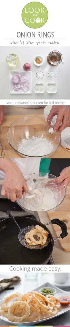 Onion Rings Recipe (#LC14150): This quick and easy to make onion ring is yummy and our step by step photo recipe will definitely be of help.