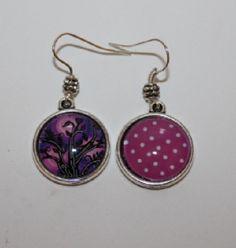 boucles d'oreilles cabochon arbre de vie,pois : Boucles d'oreille par lou-l-a-fee-creations-bijoux-fantaisie
