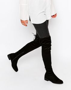 Image 1 of Public Desire Black Flat Tie Back Over The Knee Boot