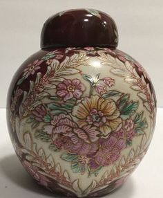 Chinese Hand Painted Ginger Jar Burgundy Red w/ Pink Floral Bouquet Gold Accents