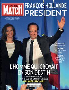 Paris Match n° 3286 du 7 mai 2012. François Hollande, le nouveau président de la République et Valérie Trierweiler sa compagne en une de Match.