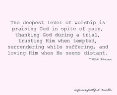 The deepest level of worship...