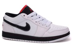 hot sale online f31a7 aaad6 Mens Nike Air Jordan 1 Low Classic Shoes White Black.jpg (800×531