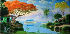 """Olímpia Reis Resque: Uma encantadora paisagem """"...Nelas predominavam os araparis, alguns em flor, bosquetes de mongubeiras e uma ou outra soca de palmeiras jauaris. .."""". Texto de Gastão Cruls (1888-1959) com pintura de Edivaldo Barbosa de Souza. No Blog: olimpiareisresque.blogspot.com. Visite!"""
