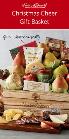 Send a gift basket full of holiday cheer! This is a great Christmas gift filled with Royal Riviera® Pears, truffles, cheese, salami, and even our famous pepper and onion relish. Christmas Gift Baskets, Great Christmas Gifts, Holiday Gifts, White Cheddar Cheese, Onion Relish, Mixed Nuts, Peppers And Onions, Pears, Fresh Fruit
