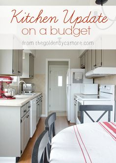 Kitchen Update on a Budget :: Hometalk  Cabinets painted grey, white appliances, spash of color.